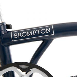 brompton superlight tempest blue logo detail
